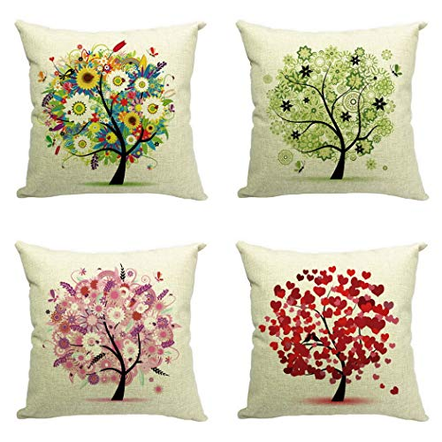JK Home Pack of 4 Life Tree #B Cushion Cover Cotton Linen 18