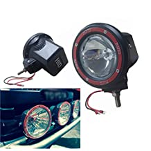 FuriAuto 4 inch 55W Work Light Driving Spot H3 HID Black Red Round Off-Road Lighting with Wiring Harness Kit