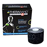 "TheraBand Kinesiology Tape, Waterproof Physio Tape for Pain Relief, Muscle & Joint Support, Standard Roll with XactStretch Application Indicators, 2"" X 16.4"" Roll, 6 Pack, Black/Black"