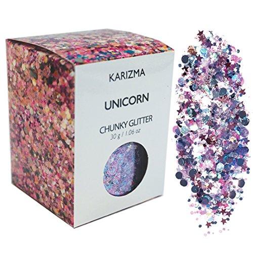 Unicorn Chunky Glitter ✮ Large 30g Jar COSMETIC GLITTER ✮ Festival Face Body Hair Nails by KARIZMA