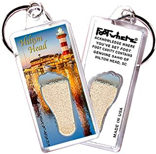 "product image for Hilton Head""FootWhere"" Keychain (HH104 - Lighthouse). Authentic Destination Souvenir acknowledging Where You've Set Foot. Genuine Soil of Featured Location encased Inside Foot Cavity. Made in USA"