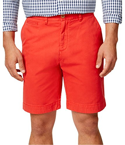Tommy Hilfiger Mens Flat Front 9 Inch Inseam Shorts (32, Red)