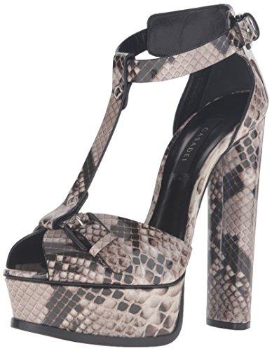 Casadei Women's Printed Python Patent Platform Dress Sandal, Roccia, 40 EU/10 M US