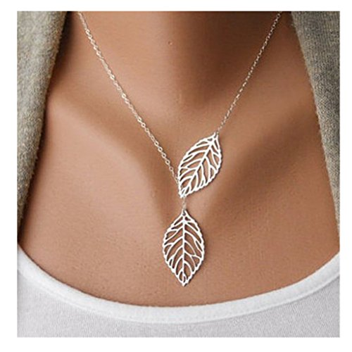 XILALU Womens Girls Simple Metal Double Leaf Pendant Alloy Choker Necklace (Silver)