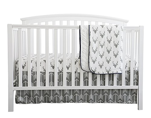 - Baby Boy Crib Bedding White Grey Woodland Arrow Antlers Deer Head Minky Blanket Navy Crib Sheet Deer Buck Crib Rail Bedding Set (Grey Arrow Deer Head, 3 pieces set)