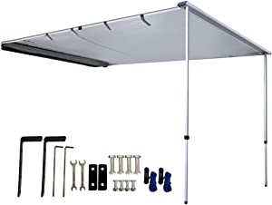 DANCHEL OUTDOOR Retractable Waterproof Camper Awning for Vehicle SUV Overland Offroad Car Tents Grey(5x8.2ft)