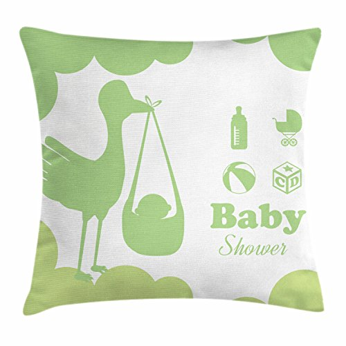 Lunarable Green Throw Pillow Cushion Cover, Silhouette of a