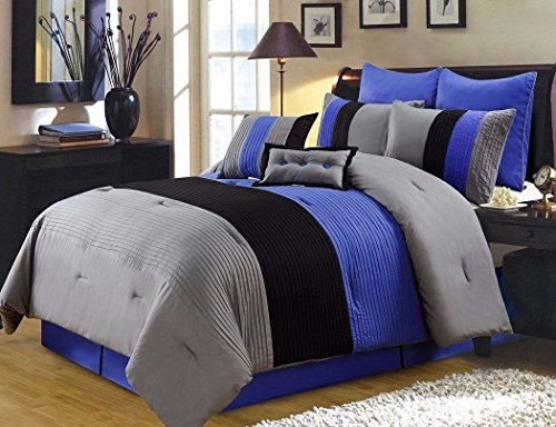 8Pc Pintuck Pleated Stripe Gray, Blue, Black Comforter Set, (Cal Clamp)