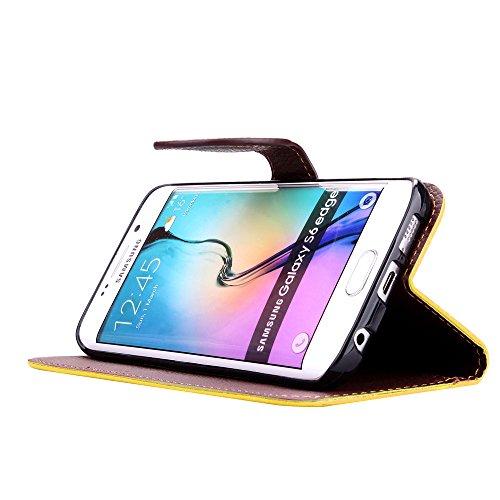 Funda Piel con Tapa para Samsung Galaxy S6 Edge,Flip Fina Case de Cuero Billetera para Samsung Galaxy S6 Edge, TOCASO Personalizada Completa Wallet Ultra Slim Cartera Carcasa Sólido Colored Flor Cover Verde