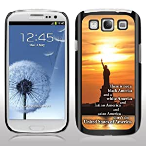 """Samsung Galaxy S3 Case - Barack Obama Quote - """"There is..."""" - BLACK Protective Hard Case"""