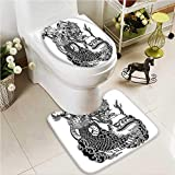 VROSELV U-shaped Toilet Mat-Soft Stone Tiered Tower Style Taoist Of Faith Pale Brown Black 2 Piece Toilet Toilet mat