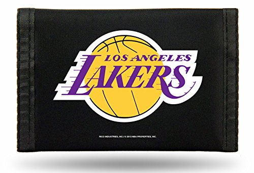NBA L.A. Lakers Nylon Trifold Wallet, Black