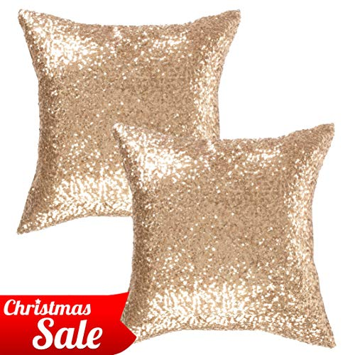 Kevin Textile Christmas Decorative Throw Sequin Pillow Sham Glitzy Comfy Satin Solid Sequins Pillow Cover 18 Inch Square Cushion Cover, Hidden Zipper Design, 2 Pieces(Light Gold)