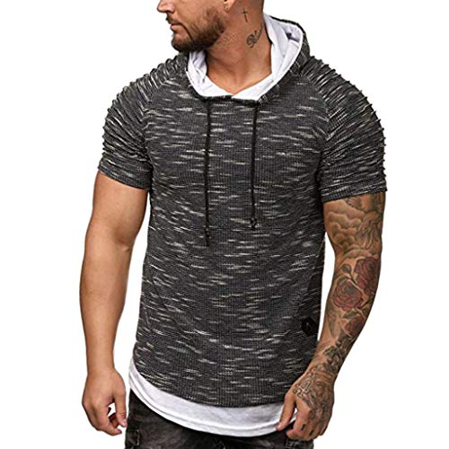 Willow S ☪✯ღ☪Fashion Mens Autumn Winter Pleats Round Neck Fake Two Pieces Slim Fit Raglan Short Sleeve Hoodie Top Blouse