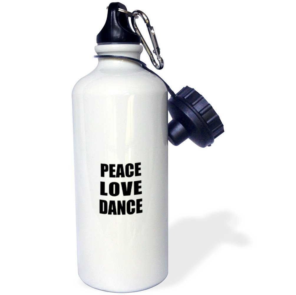 3dRose wb_184855_1'' Peace Love and Dance - Things that make me happy - dancing dancer gift Sports Water Bottle, 21 oz, Multicolor