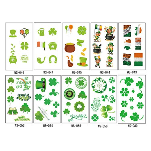 Amosfun 10 Sheets St Patrick's Day Tattoo Sticker St. Patrick's Day Accessories Shamrock Clover Leprechaun Hat Flag Waterproof Tattoo Sticker for Irish Party Favor ()