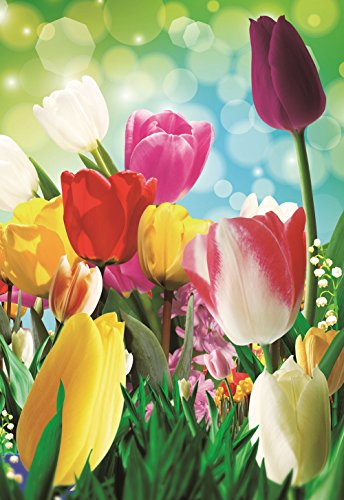 (Garden Flag Tulip Spring Colorful Summer Blooms Double Sided 12.5'' X 18'')