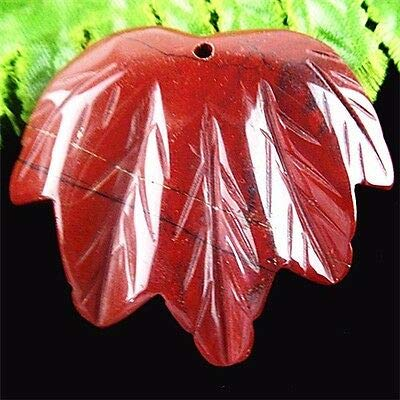 - FidgetKute Beautiful Red Jasper Carved Leaf Pendant Bead BA4251