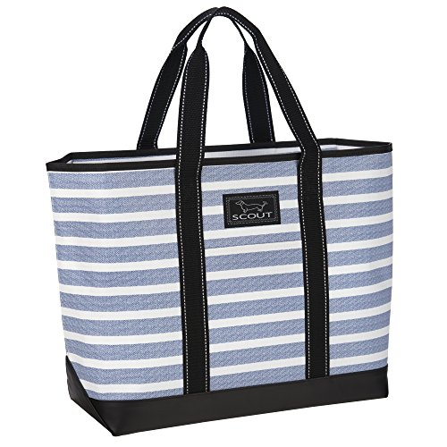 SCOUT Beach Bum Large Tote Bag, For the Beach or Pool, Slim Profile, Folds Flat, Sand and Water Resistant, Zips Closed, Oxford Blues