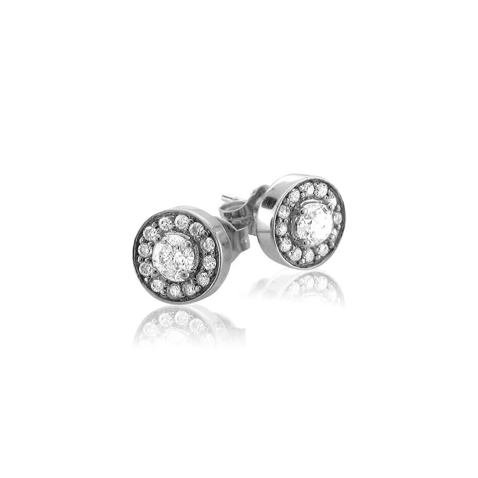 14k White Gold Cluster Diamond Stud Earrings (5/8 Carat)