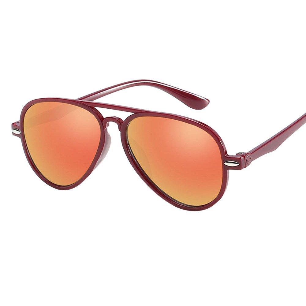 Lanhui Kids Retro Anti-UV Sunglasses ,Color Film Goggles New Cool Baby Boy Girls Glasses (12.6cm4.6cm13.3cm, Wine)
