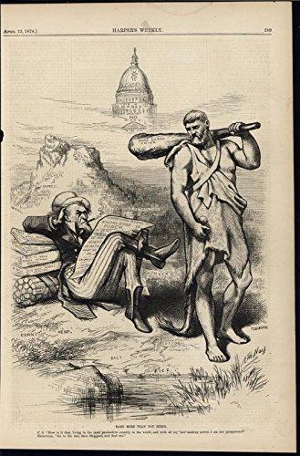 - American Labor Hercules Reliance Uncle Sam Smoking Debt 1878 Nast antique print