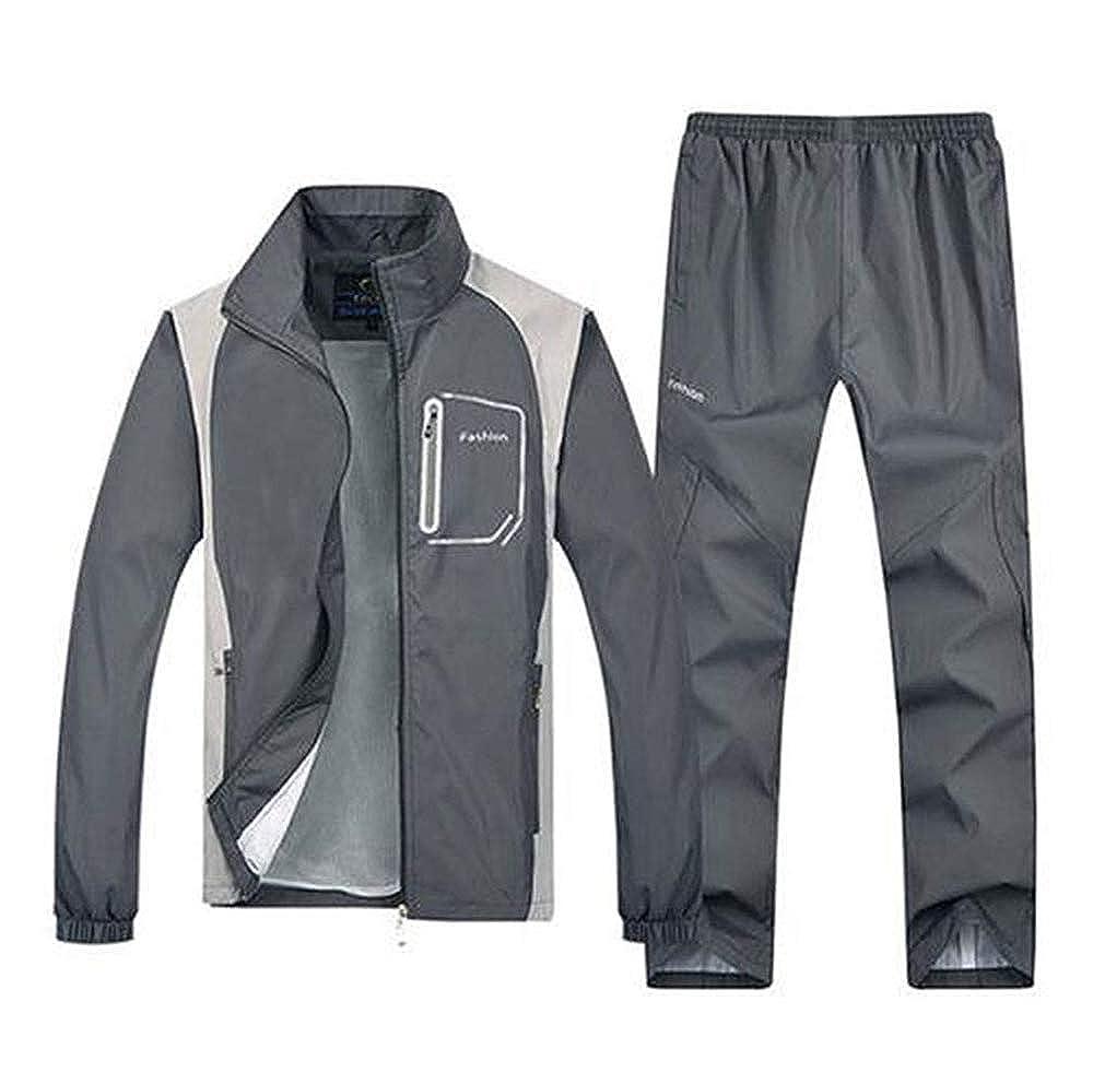Men Outdoor Train Tracksuit Sport Jacket Coat Top Suit Trousers Pants 5 Color