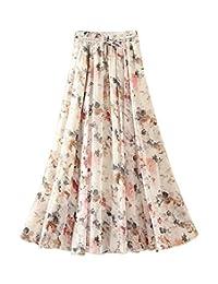 Falda de la falda de la falda larga de la gasa de la cintura elástico de la cintura de las mujeres #03