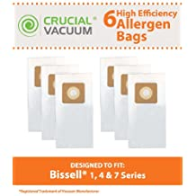6 Bissell Style 1, 4, & 7 Allergen Vacuum Bags Designed To Fit Bissell Powerforce, PowerGlide, Plus, Lift-Off, Power Trak Series; Compare To Part # 30861 ; Designed & Engineered By Crucial Vacuum