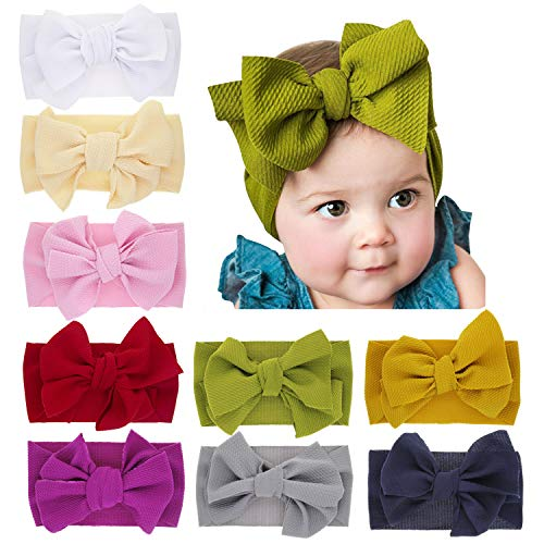 inSowni Boutique Stretch Bow Ear Turban Headbands Set for Baby Girl Toddlers Kids (9PCS S44)