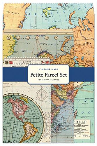 Cavallini 12-Pack Petite Vintage Maps Parcel Set
