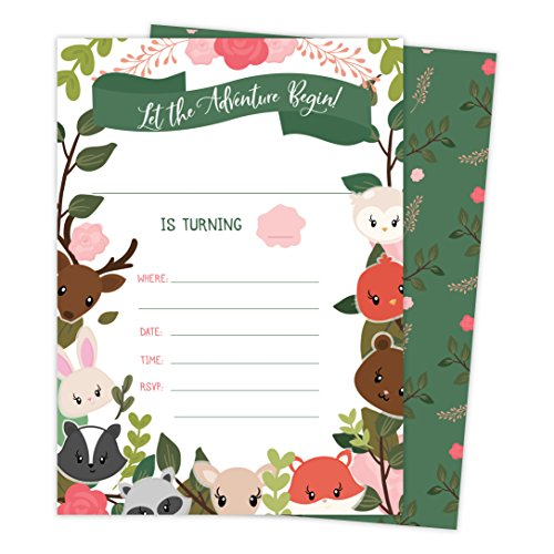 Woodland Animals Happy Birthday Invitations Invite Cards (25
