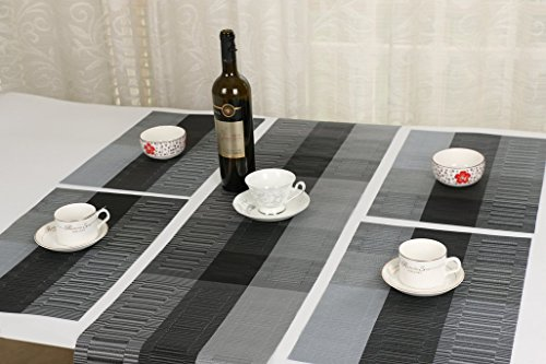 SHACOS Washable Woven Vinyl Table Runners for Indoor or Outdoor Use,54