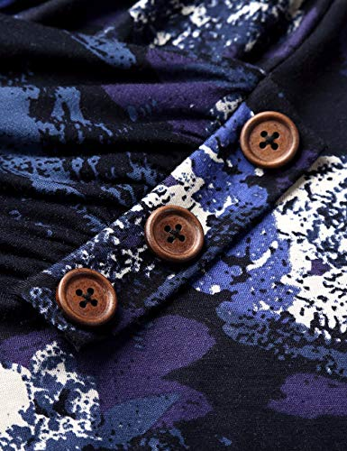 Baishenggt Ampio blumen Maglietta Lunga Blau Taglio Manica Donna rU4rq0zfW