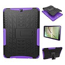 Galaxy Tab S2 9.7 Case, Galaxy Tab S2 9.7 Cover, Dual Layer Protection Shock Absorption Hybrid Rugged Case Hard Shell Cover with Kickstand for Samsung Galaxy Tab S2 9.7 [SM-T810/T815] (Purple)