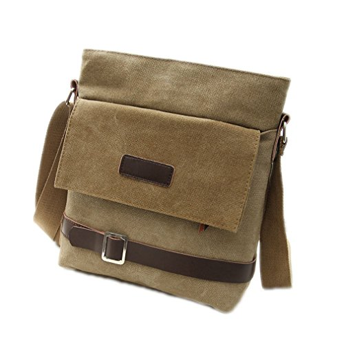 Zeroral Men Canvas Bag Multi-Purpose Fashion Handbags Office Single Shoulder Bags Khaki ()