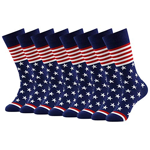 American Flag Fun Dress Socks for Men,Bonangel Cotton Novelty Crew Socks,Groomsmen Gift Socks 2/4/6 Pairs (Best Man Groomsmen Gifts)