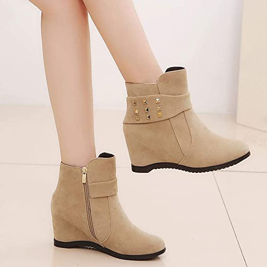 Logobeing Botines Mujer Tacon Invierno Planos Tacon Ancho Piel Botas de Mujer Medio Zapatos Combat Casual Planas Zapatos de Plataforma-5757(35,Caqui): ...
