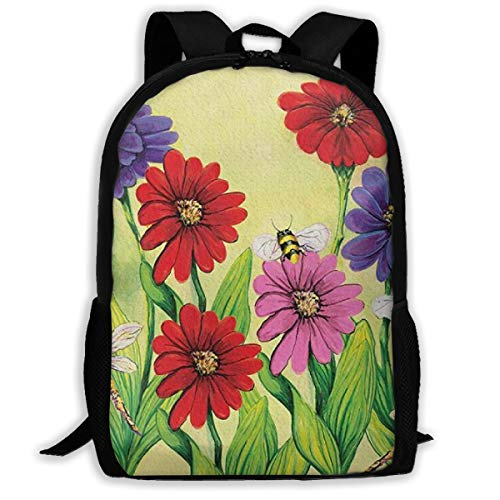 Sunmoonet Zinnia Flight Backpack College School Travel Bags Waterproof Shoulder Backpacks for Men - Zinnia Flight