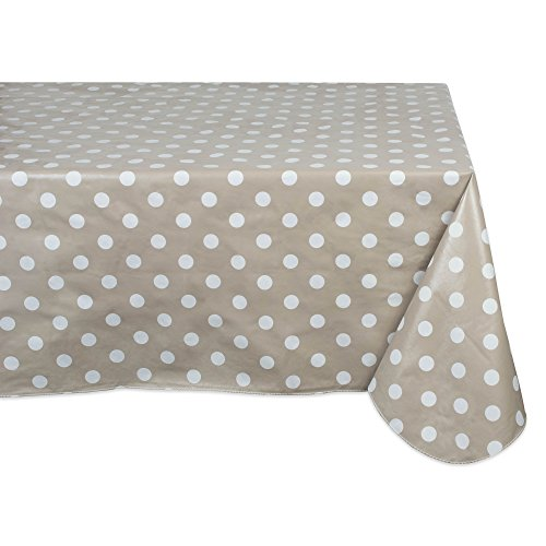 J&M Home Fashions Waterproof Spill Proof Vinyl Polka Dot Tablecloth, 60x84, Season, Indoor, Outdoor Picnics & Potlucks Party Party or Everyday Use-Beige/White Dot