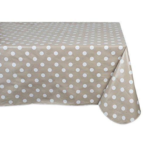 J & M Home Fashions Geometric Tablecloth Waterproof & Spill Proof Vinyl, 60x102, Beige & White Polka Dot