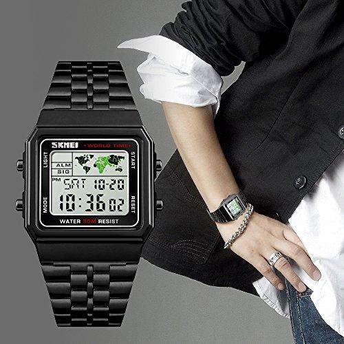 Men's Watch Black Multifunction Steel Belt Wrist Watches Classic Gifts Fashion Waterproof by FIZILI (Image #6)