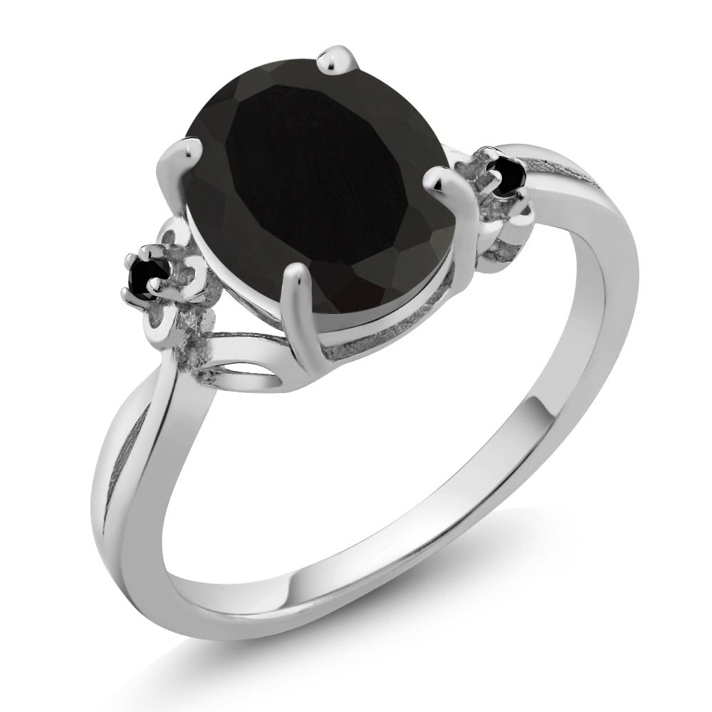 2.22 Ct Oval Black Onyx and Diamond 14K White Gold Women's Ring (Ring Size 6)