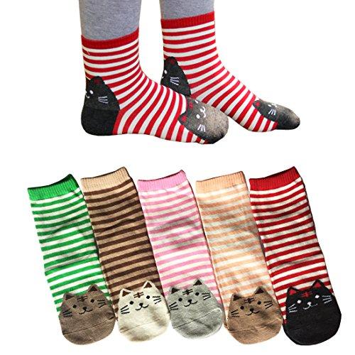 Oureamod Cartoon Animal Womens Girls Cotton Crew Socks 5 Pack Stripe Cute Cat Deep
