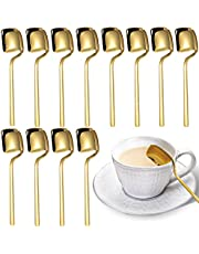 Yopay 12 Pieces Coffee Spoons, 5.6 Inch 18/8 Stainless Steel Demitasse Espresso Spoon, Mini Gold Plated Teaspoons Set for Rest, Cake, Sugar, Dessert, Tea, Ice Cream, 304 Stainless Steel