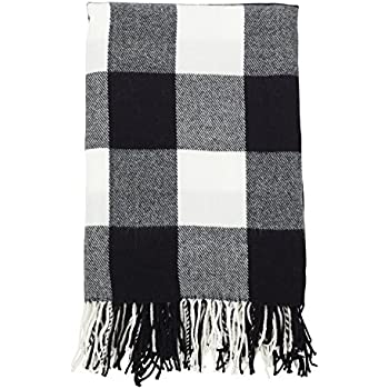 faribault woolen mill 01770 white black buffalo check throw home kitchen. Black Bedroom Furniture Sets. Home Design Ideas