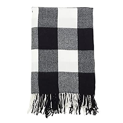 "SARO LIFESTYLE Buffalo Plaid Check Tassel Throw Blanket 50"" x 60"" Black - Dimensions: 50"" x 60"" 100% Acrylic Machine washable - blankets-throws, bedroom-sheets-comforters, bedroom - 51Yvlq0MjvL. SS400  -"