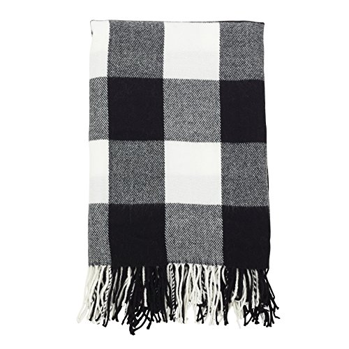 (SARO LIFESTYLE Buffalo Plaid Check Tassel Throw Blanket, 50