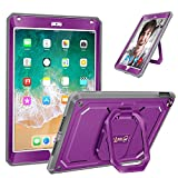 ipad 2 keyboard case purple - Fintie iPad 9.7 Inch 2018/2017 Case - [Tuatara Magic Ring] 360 Rotating Multi-Functional Grip Stand Shockproof Fully-Body Rugged Cover with Built-in Screen Protector, Also Fit iPad Air 2, Purple