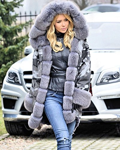 Roiii Plus Size Womens Military Hooded Warm Winter Coats Faux Fur Lined Parkas (Medium, Grey) by Roiii (Image #1)